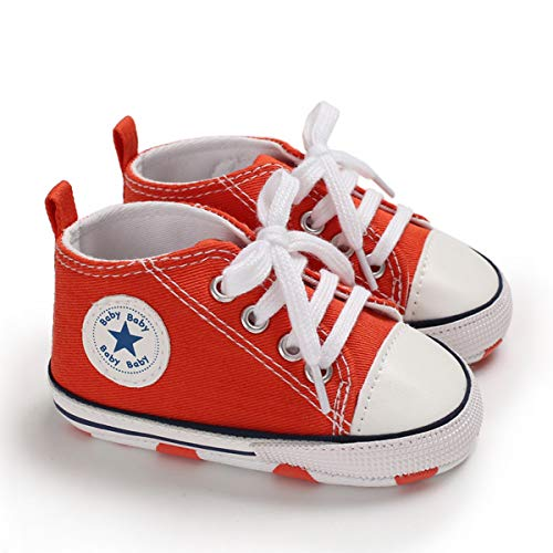 DEBAIJIA Bebé Primeros Pasos Zapatos de Lona6-12M NiñosAlpargata Suave Antideslizante Ligero Slip-on 18 EU Naranja (Tamaño Etiqueta-2)