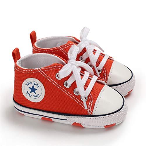 DEBAIJIA Bebé Primeros Pasos Zapatos de Lona0-6M NiñosAlpargata Suave Antideslizante Ligero Slip-on 17 EU Naranja (Tamaño Etiqueta-1)