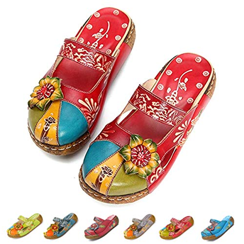 gracosy Leather Sandals for Women, Womens Wedge Sandals Clogs Mules Slip on Summer Shoes Flat Slide Sandals Handmade Flower Platform Wedges Comfort Loafer Shoes Red Blue Grey Red 10 B(M) US