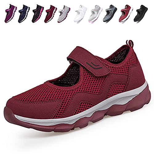 [JIAFO] 安全靴レディース スニーカー 介護シューズ 高齢者シューズ マジックテープ 通気性 柔軟性 軽量 メッシュ 中高齢者靴 ママシューズ 疲れにくい 滑り止めお母さん 婦人靴 看護師 白 黒(22.5cm~26.0cm) (レッドC, meas