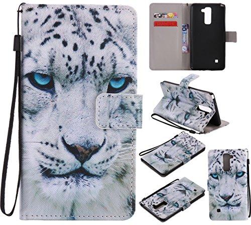 Nancen Compatible with LG G Stylo 2 / LG Stylus 2 / LG Stylus 2 Plus LS775 K520 (5,7 Zoll) Hülle/Handyhülle, Zwei Kartenfächer & Eine Brieftasche Etui [Weiß Leopard]