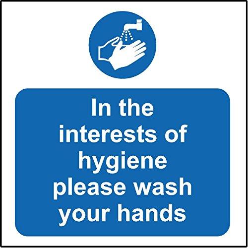 Igiene catering in igienici non si prega di lavarsi le mani segno sicurezza–Adesivo adesivo 100mm x 100mm