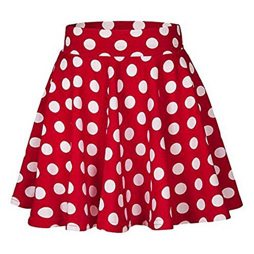 YEBIRAL Damen Rock Einfarbig Polka-Punkt Elegante Sexy Hoher Taille Super Weich Dehnbar und Leicht Freizeit Plissiert MiniRöcke(M,Rot)