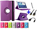 Funda giratoria para Tablet Bq Edison 3 Quad Core 10.1' Color: Morado + Accesorios