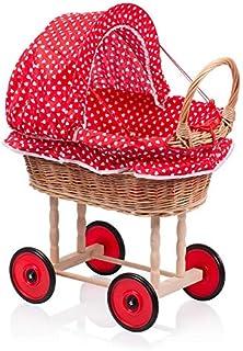 AZZAP Puppenwagen Kinderwagen Weidenkorb Weiden Holz Korbgeflecht Weidenwagen WAG1