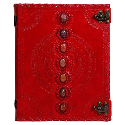 Leather Journal Real Stone Seven Chakra Medieval Stone Embossed Handmade Book of Shadows Notebook Office Diary College Book Poetry Book Sketch Book Grimoire (Red, 10x13 inch)
