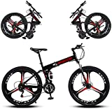 P.CHUXIN Bicicleta De Montaña Plegable 24/26 Pulgadas 27 Velocidades Doble Freno De Disco con Amortiguación Freno Seguro Y Rápido Bicicleta para Niños Y Niñas (Black,24in)