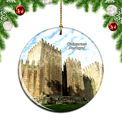 Weekino Portugal Guimaraes Christmas Xmas Tree Ornament Decoration Hanging Pendant Decor City Travel Souvenir Collection Double Sided Porcelain 2.85 Inch
