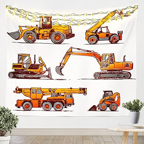 Homemissing Tapiz para colgar en la pared para niños, niños, niños, dibujos animados, arte de pared para dormitorio, sala de estar, vehículo naranja amarillo, tamaño mediano 128 x 122 cm