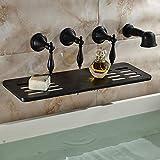 Grifos de ducha Ducha Conjunto de ducha Sistema aceitado pared de bronce montado en baño grifo de la bañera cascada Boquilla W/Jabón del plato de ducha Rociador Sistema de Ducha
