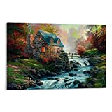 Pintura al óleo Arte de la casa de campo y rueda de agua, arroyo, guijarro, cuadro de la pared de la impresión de lienzo moderno de la decoración del dormitorio familiar carteles 60 x 90 cm
