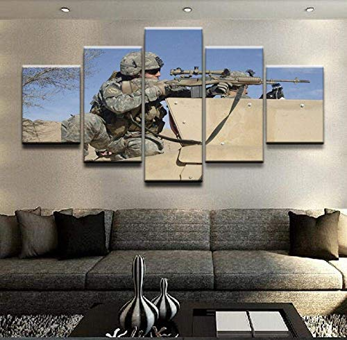5 Pieces Canvas Painting Print 150X80Cm Modern Canvas Home Decorative Modular Painting Wall Art HD Printed Poster 5 Panel Military Sniper Soldier Pictures -Modern Family Painti. (ELL927)