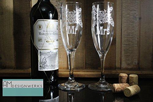 Hawaiian Tropical Flower Custom Mr or Mrs Wedding Champagne Glass Set