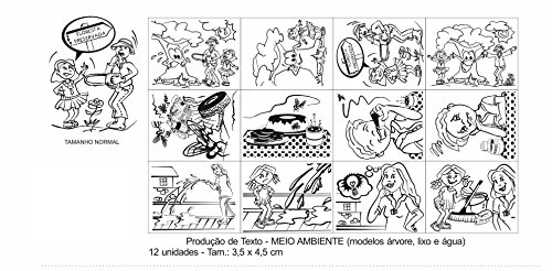 Carimbo Produção de Texto Meio Ambiente 12 Peças Caixa Papel Carlu Brinquedos
