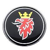 con curvatura 3D Color Negro 3 Cromado Emblema para cap/ó de avi/ón Jet SAAB de 50 mm autoadhesiva 9