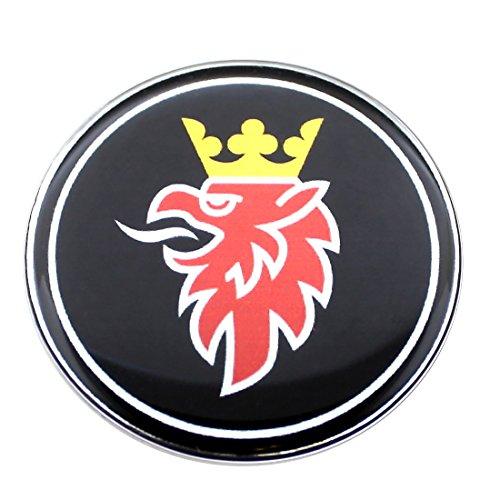 Emblema para capó Cromado de 50 mm, diseño de Griffin SAAB, Color Negro, 9 – 3