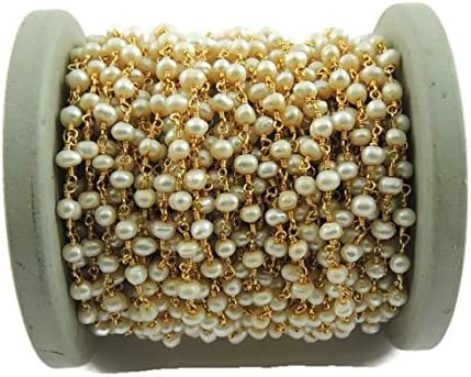 10 Feets Pearl Rosary Style Beaded Chain Wire Wrapped 24k Gold Plated Chain Per Foot