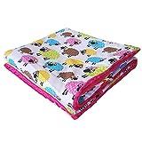 75x100cm Minky Babydecke Kuscheldecke Krabbeldecke Decke Super weich und flauschig Handarbeit (Schafe Bunt Pink)
