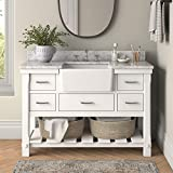 Charlotte 48-inch Bathroom Vanity (Carrara/White): Includes White Cabinet with Authentic Italian Carrara Marble Countertop and White Ceramic Farmhouse Apron Sink