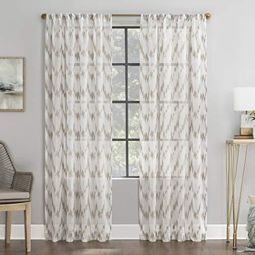 "Scott Living Santo Ikat Print Textured Sheer Rod Pocket Curtain Panel, 52"" x 84"", Linen"
