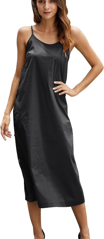 Dyaugesis Women Casual Summer Dress Plain Sleeveless Midi Beach Dress Maxi Dress