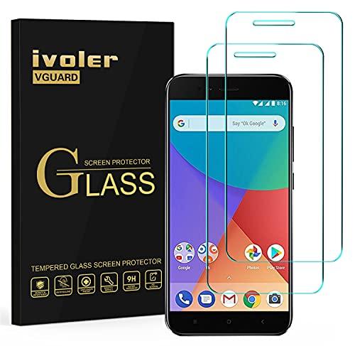 ivoler [2 Unidades] Protector de Pantalla para Xiaomi Mi A1, Cristal Vidrio Templado Premium