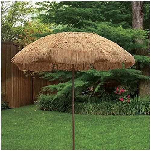 WUKALA Sombrilla de Playa Hawaiana 200cm,Garden Parasol con Inclinación de 45°,Sombrilla de Jardín para de Rafia para Césped Piscina Patio Jardín Sombrillas Terraza