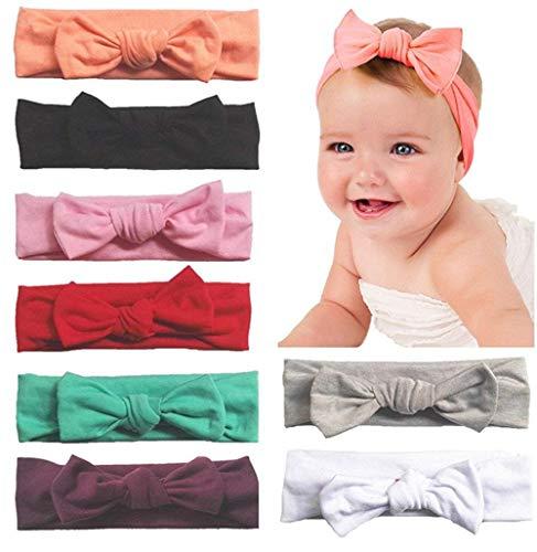 Frmarche Turbantes Bebé Niña Arco Adorable Bandas Elástica de Cabello para Cabeza con Oídos de Conejo (8PCS)