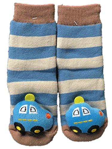 KIDDI-MEDIA Babysocken mit Rassel/ABS - Socken/Rasselsöckchen mit 3D Motiv / 12-24 Monate (Braun/Blau - Auto)