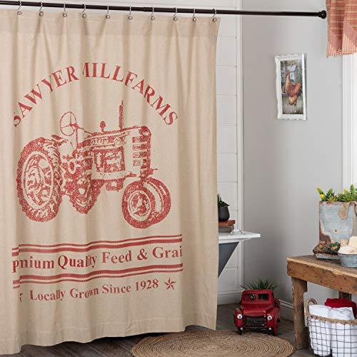 VHC Brands Sawyer Mill Duschvorhänge Khaki Kirschrot