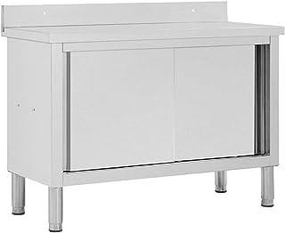 Festnight Armoire de Cuisine Table de Travail avec Portes Coulissantes Armoire de Rangement 120x50x95 cm INOX