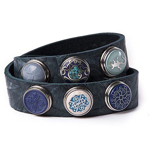 Noosa Armband Wrap Bracelet Double Skinny embossed dusk blue, Grösse:S