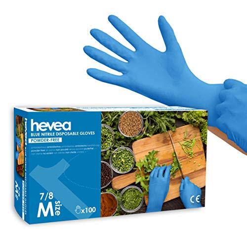 Hevea - Gants en nitrile jetables. Sans talc et sans latex. Boîte de 100 gants. Taille : M (Moyenne). Couleur : bleu