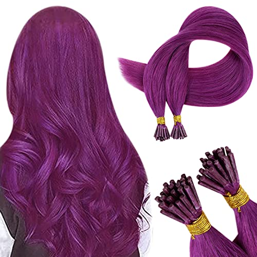 RUNATURE Remy Hair Extensions I Tip Purple Human Hair 14 Inch Keratin Tipped Hair Extesions Purple Cold Fusion Pre...