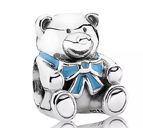 FeatherWish 925 Sterling Silver New Baby Its A Boy Or Girl Teddy Bear Charm Compatible With Pandora Bracelet (Blue)