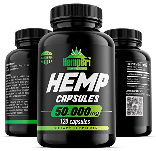 50000mg Hemp Oil Extract Capsules For Pain Relief & Anxiety Best Joint Support your Health & Sleep Supplement Pill Tablets Immune and Mood Anti Inflammatory Natural Organic Hemp Seed Oils Pure Powder