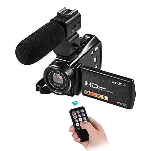 """Andoer HDV-V7 Plus 1080P Full HD 24MP Portable Digital Video Camera Camcorder Remote Control Infrared Night Vision Recorder 16X Zoom 3.0"""" Rotary LCD with External Microphone"""
