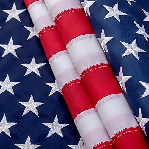 American Flag 3x5 Feet, Made in USA,Deluxe Star Stitched Stripe, Tough, Indoor/Outdoor, Bright Color, Bbrass Gasket, Oxford Cloth. Our American Flag is Very Upscale