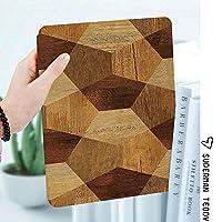 IPad 2/ iPad 3/ iPad 4 ケース - Apple iPad 2/3/4 第二世代 第三世代 第四世代タブレット用 PC + PUレザー 2つ折スタンドケース幾何学的な白黒パターンと素朴な抽象的な寄木細工の床のフローリングの木製
