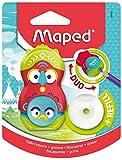 Maped Loopy Duo - Sacapuntas 2 en 1, ideal para estuche, sacapuntas, 1 agujero limpio con tapa y goma giratoria protegida + 1 recambio