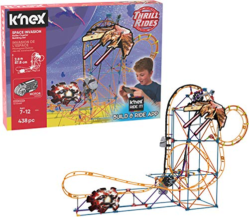 K#039NEX Thrill Rides – Space Invasion Roller Coaster Building Set with Ride It App – 438Piece – Ages 7 Building Set