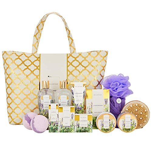 Spa Luxetique Spa Gift Baskets for Women, Lavender Spa Gift Basket, Gift Set for Women, Luxury 15 Pcs Spa Gift Set with Bubble Bath, Bath Bombs, Hand Cream. Best Gifts for Women.