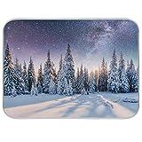 Mysterious Winter Landscape Majestic Mountains - Alfombrilla de secado para platos (45,7 x 60,9 cm)