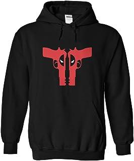 Gnarly Tees Men's Deadpool Guns Hoodie