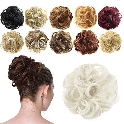Feshfen Haargummi-Haarteil, für Haarknoten/Pferdeschwanz, Haarverlängerung, gewellt, unordentlicher Haarknoten, Dutt, Hochfrisur, Haarteil, A23 - Ash Platinum Blonde 60#