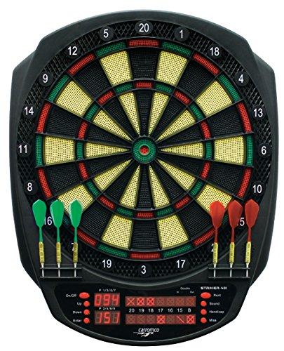 Carromco Jugendliche, Kinder, Erwachsene Dartboard Elektronik Dartautomat striker-401 E-Dart Dartscheibe, schwarz-beige-grün-rot, STANDARD