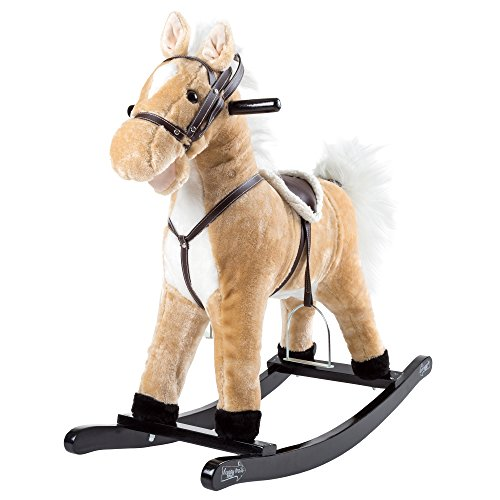 Rocking Horse Plush Animal on Wooden Rockers with Sounds, Stirrups, Saddle & Reins, Ride on Toy, Toddlers to 4 Years Old by Happy Trails - Brown
