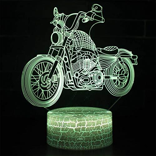 Harley lampe illusion 3D / lumière LED de nuit, 7 couleurs, lumières tables tactile/de bureau télécommande chambre, lampes et câbles USB sculptures d'art