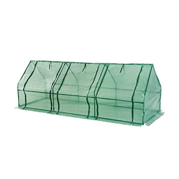 Outsunny 9' l x 3' w x 3' h portable tunnel greenhouse outdoor garden mini hot house with large zipper doors, water/uv… 2 ✅protect plants from the elements: bring all of your plants together in a unified and protected space with our garden greenhouse. Having everything in one place means our plant nursery helps you manage and grow your plants, fruits, vegetables, and flowers all year round. ✅updated design with 3 large doors: the 3 side doors of our plant nursery can be completely opened and rolled up with ties, thereby making a larger space & creating better ventilation. ✅let and keep the good stuff in: this small hot house features a pe mesh grid cover that is sun and water fighting to help protect plants while allowing nourishing sunlight to pass through. Furthermore, the cover helps retain heat during colder months.