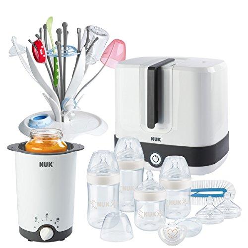 NUK großes Neugeborenen Starter Set mit Nature Sense Babyflaschen (x4) + Dampfsterilisator + Flaschenwärmer + Trockenständer + Flaschenbürste + Schnuller (0-6m) + Silikon Trinksauger (x2)
